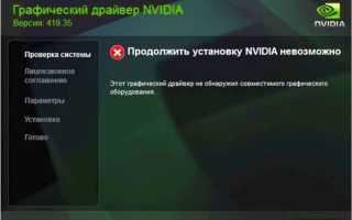 Разбор ошибок при установке драйверов Nvidia