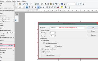 Добавление таблиц в OpenOffice Writer.